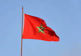 National flag of Morocco waving in the wind poster
