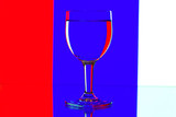 domino wine glasses in backlight on the blue and white contrast poster