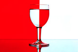 domino wine glasses in backlight on the red and white contrast b poster