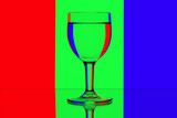 domino wine glasses in backlight on the red, blue and green cont poster