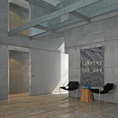 Minimalist concrete interior