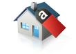 Maison et étiquette amiante (reflet)