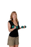 Women doing bicep curls with free weights poster
