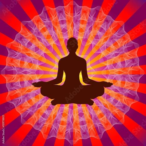 Yoga On Mandala Background
