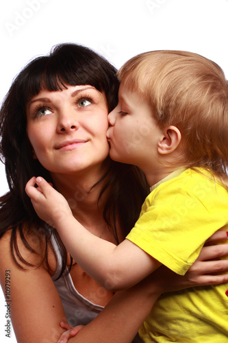 Son kissing mama
