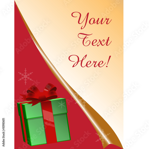 Greeting card with gift box and copy space, vector illustration