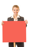 Businesswoman standing with red signboard, isolated poster