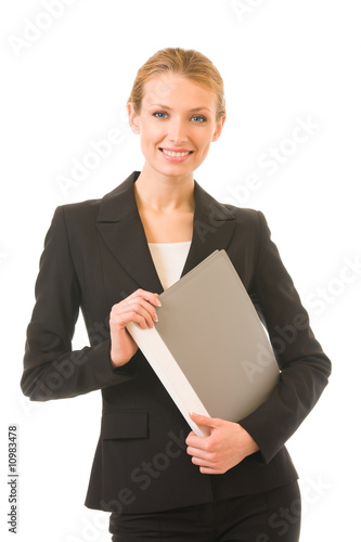 Young happy smiling businesswoman with folder, isolated