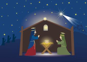 Nativity scene whit three magi, Jesus, Mary and Josef, Bible