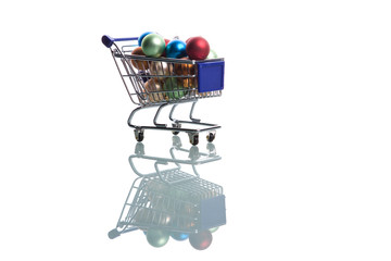 shopping cart full with christmas balls