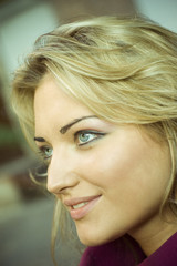Close-up of beautiful woman face.