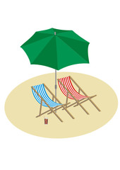 vector illustration of deck chairs with umbrella