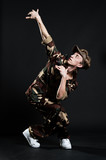 handsome breakdancer in military uniform poster
