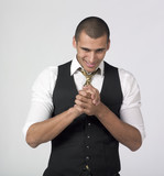 businessman rubbing hands with a smirk poster