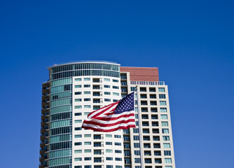 American Flag and Condos
