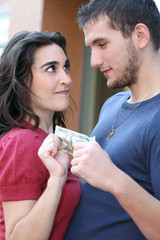Young Couple Fighting, Arguing over Money
