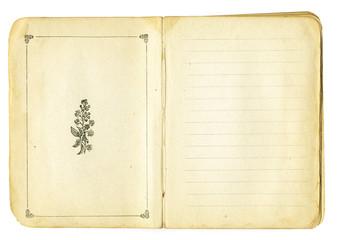 Open vintage pocket book with decorative elements