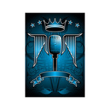 Microphone and wing motif. poster