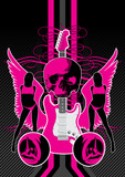 Guitar motif featuring wings, women and skull. poster