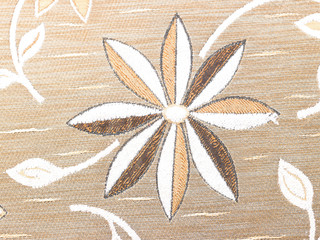 Single white flower on brown background
