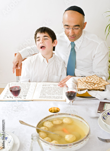 father and sun celebrating passover