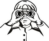 Captain with binoculars poster