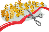 Cutting ribbon with foreign currency poster