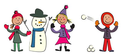enfant jeux de neige