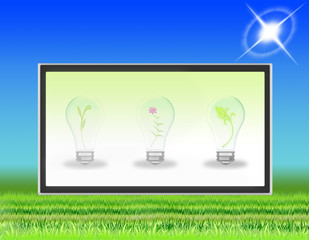 lawn with LCD TV that transmits symbols of ecology