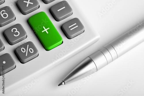 calculator and pen. plus button colored green - 11007409