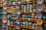 Colorful ceramics for sale in Marrakech, Morocco poster
