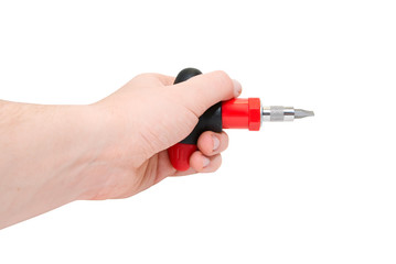 Hand with  red screwdriver
