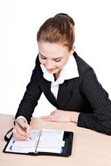 Businesswoman writting
