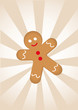 Cartoon gingerbread man on striped background