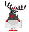 Grey Reindeer Cartoon With Signboard - Isolated on white