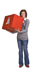 Woman with a red gift box