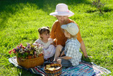 The grandmother with grandsons on a glade in park poster
