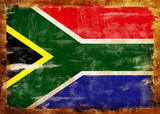 South Africa old painted flag poster