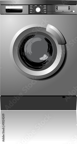 White washing machine vector illustration. Home equipment