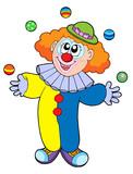 Juggling cartoon clown poster