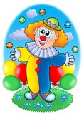 Juggling cartoon clown with balloons poster