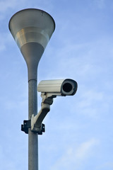 Surveillance Camera mounted on a post looking down