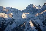 snowy mountains, Elbrus area, sundown poster