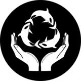 Vector killer whale and hands icon. Black and white. poster