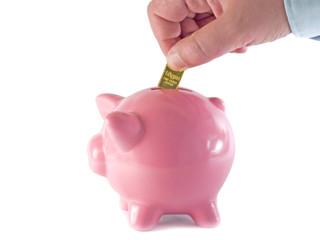 Power Savings. Gold bullion bar deposit.
