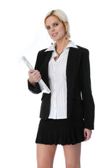 Businesswoman holding laptop