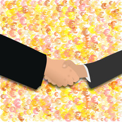 handshake on euro symbols
