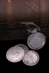 old silver coins of 16-18th centuries