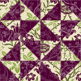 Green and Purple Flower Patchwork poster