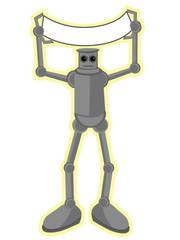 Robot holding blank banner